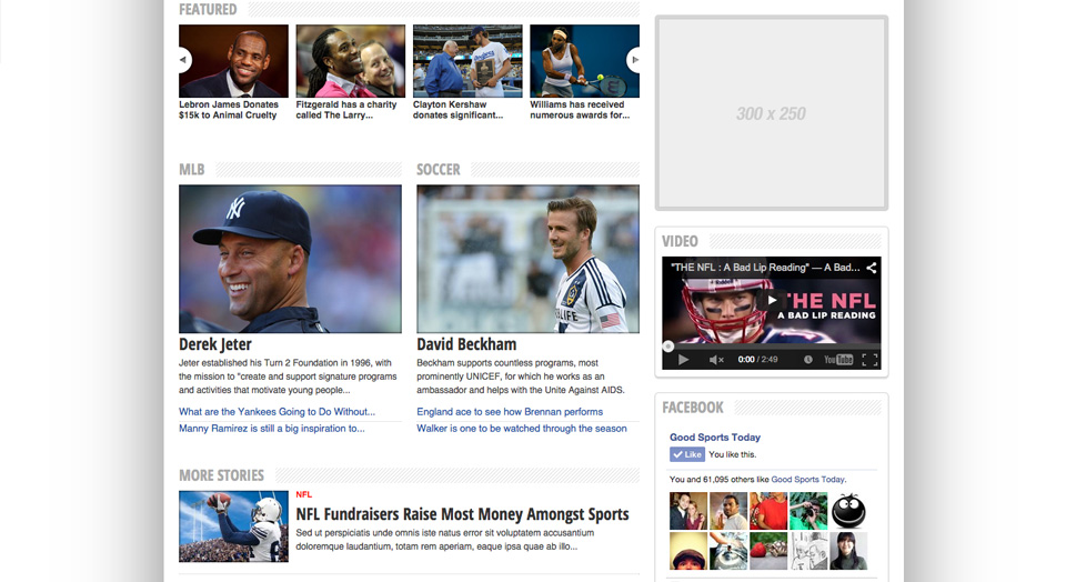 sports blog website designs